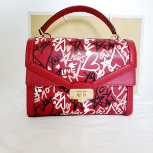 NWT MK Red Graffiti Kinsley Top Handle Satchel